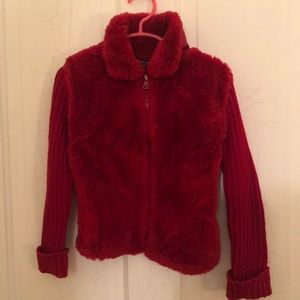 Children's place red faux fur girls sweater 4
